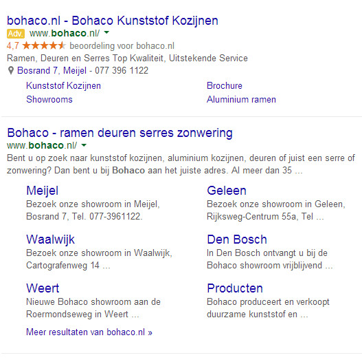 Een Google Adwords advertentie van Bohaco