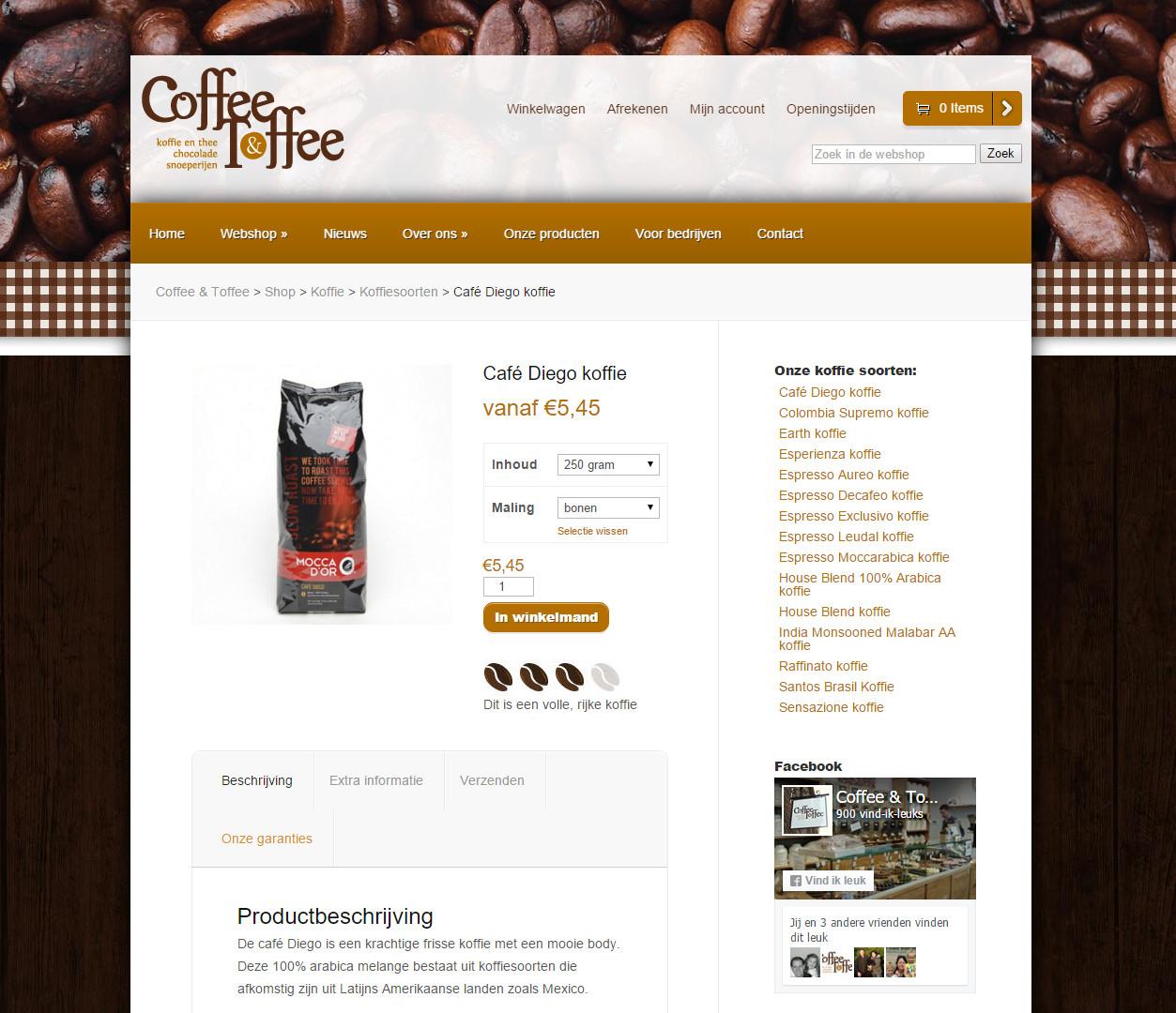 Webshop Coffee & Toffee dieptepagina